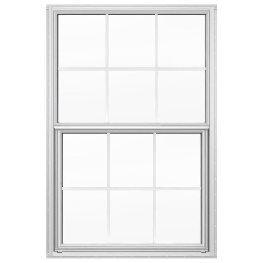 JELD-WEN 4100 Aluminum Double Pane Double Strength Replacement Single Hung Window (Rough Opening: 36-in x 49.875-in; Actual: 36-in x 49.625-in)