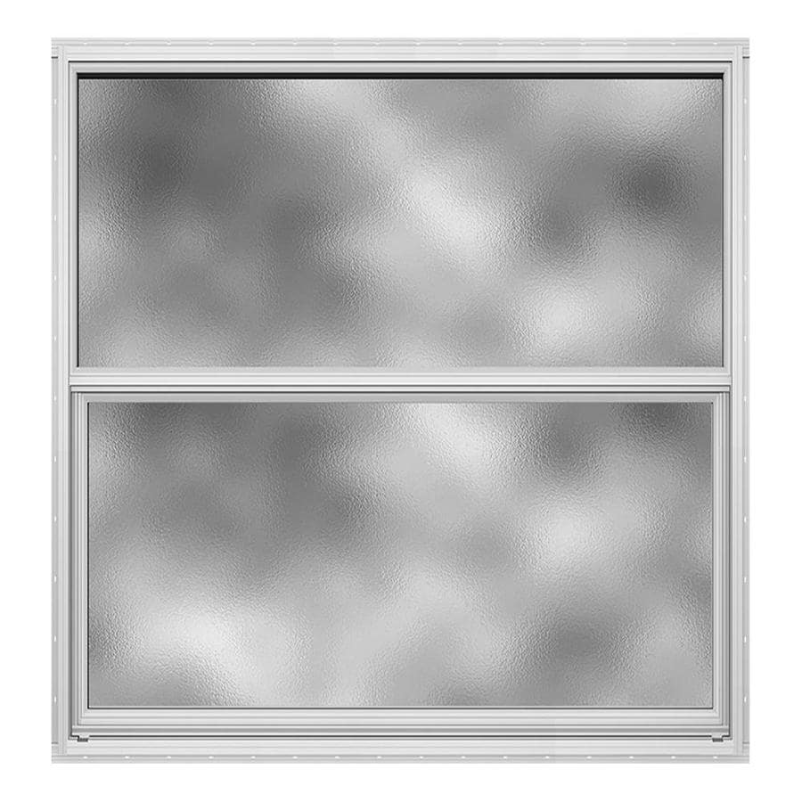 JELD-WEN 4100 Aluminum Single Pane Double Strength Replacement Single Hung Window (Rough Opening: 36.5-in x 37.625-in; Actual: 36-in x 37.375-in)