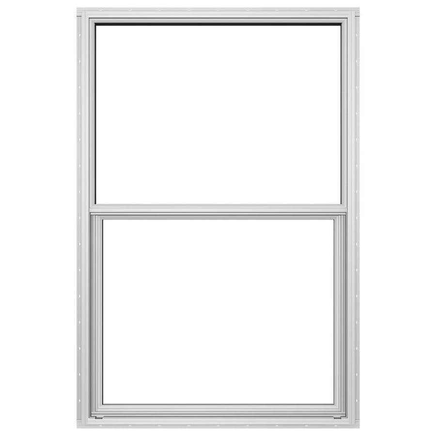 JELD-WEN 4100 Series Aluminum Single Pane Double Strength Replacement Single Hung Window (Rough Opening: 26-in x 37.625-in; Actual: 25.5-in x 37.375-in)