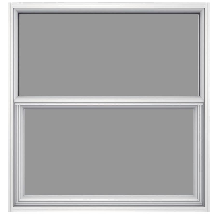 JELD-WEN 6100 Aluminum Single Pane Impact Replacement Single Hung Window (Rough Opening: 36.5-in x 37.625-in; Actual: 36-in x 37.375-in)