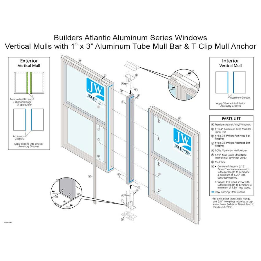 "JELD-WEN 37-3/8"" x 1"" White Window Joining Kit"