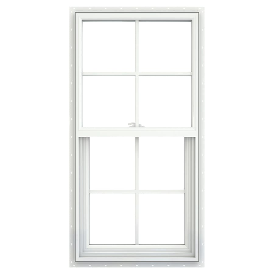 JELD-WEN V2500 Vinyl Double Pane Double Strength Single Hung Window (Rough Opening: 24-in x 48-in; Actual: 23.5-in x 47.5-in)