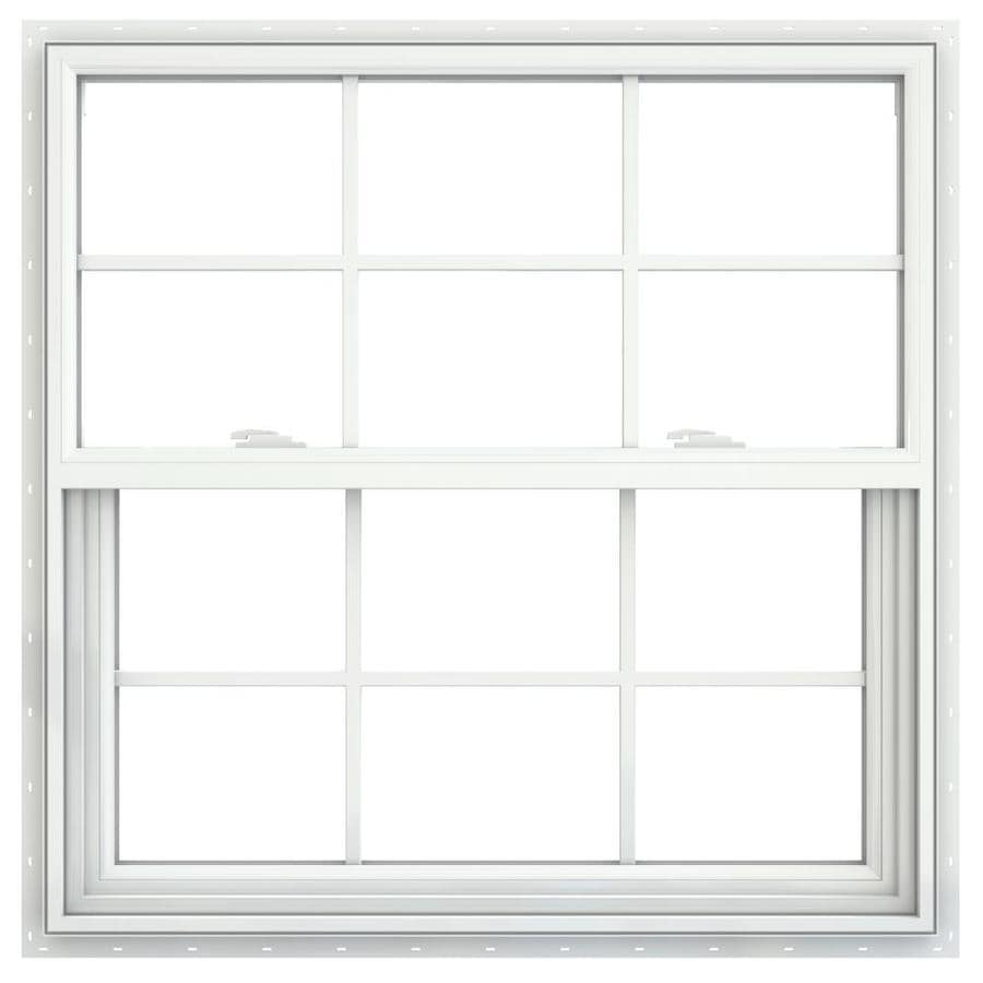JELD-WEN V-2500 Vinyl Double Pane Double Strength New Construction Single Hung Window (Rough Opening: 36-in x 36-in; Actual: 35.5-in x 35.5-in)