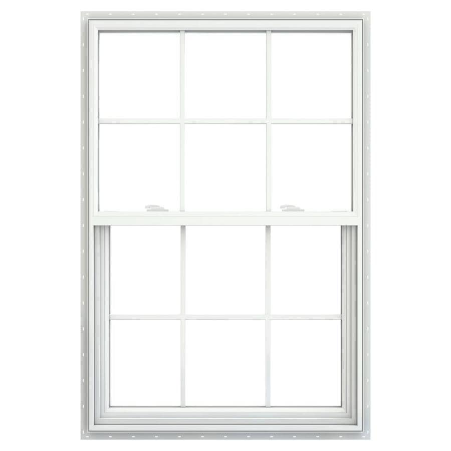 JELD-WEN V2500 Vinyl Double Pane Double Strength Single Hung Window (Rough Opening: 36-in x 54-in; Actual: 35.5-in x 53.5-in)