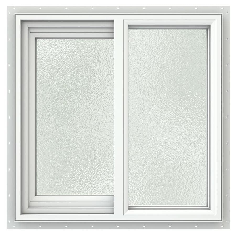 JELD-WEN V2500 Left-Operable Vinyl Double Pane Double Strength Sliding Window (Rough Opening: 24-in x 24-in; Actual: 23.5-in x 23.5-in)