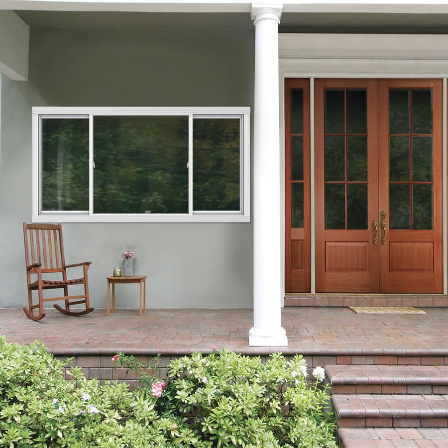 Shop jeld wen v2500 left operable vinyl double pane double for 4 ft sliding glass door