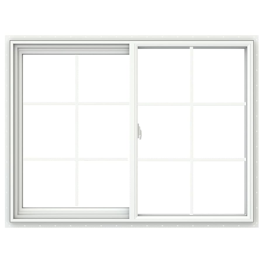 JELD-WEN V-2500 Left-Operable Vinyl Double Pane Double Strength New Construction Sliding Window (Rough Opening: 48-in x 36-in; Actual: 47.5-in x 35.5-in)