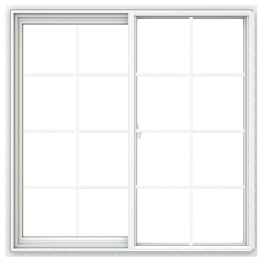 JELD-WEN V2500 Left-Operable Vinyl Double Pane Double Strength Egress Sliding Window (Rough Opening: 48-in x 48-in; Actual: 47.5-in x 47.5-in)