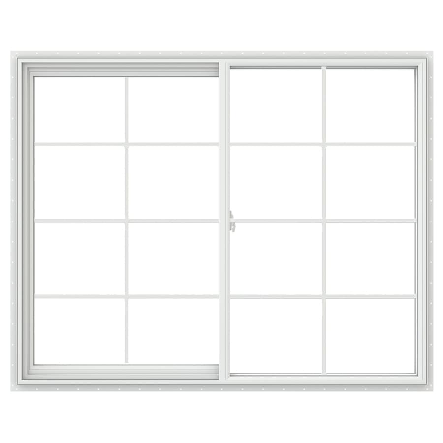 JELD-WEN V2500 Left-Operable Vinyl Double Pane Double Strength Egress Sliding Window (Rough Opening: 60-in x 48-in; Actual: 59.5-in x 47.5-in)