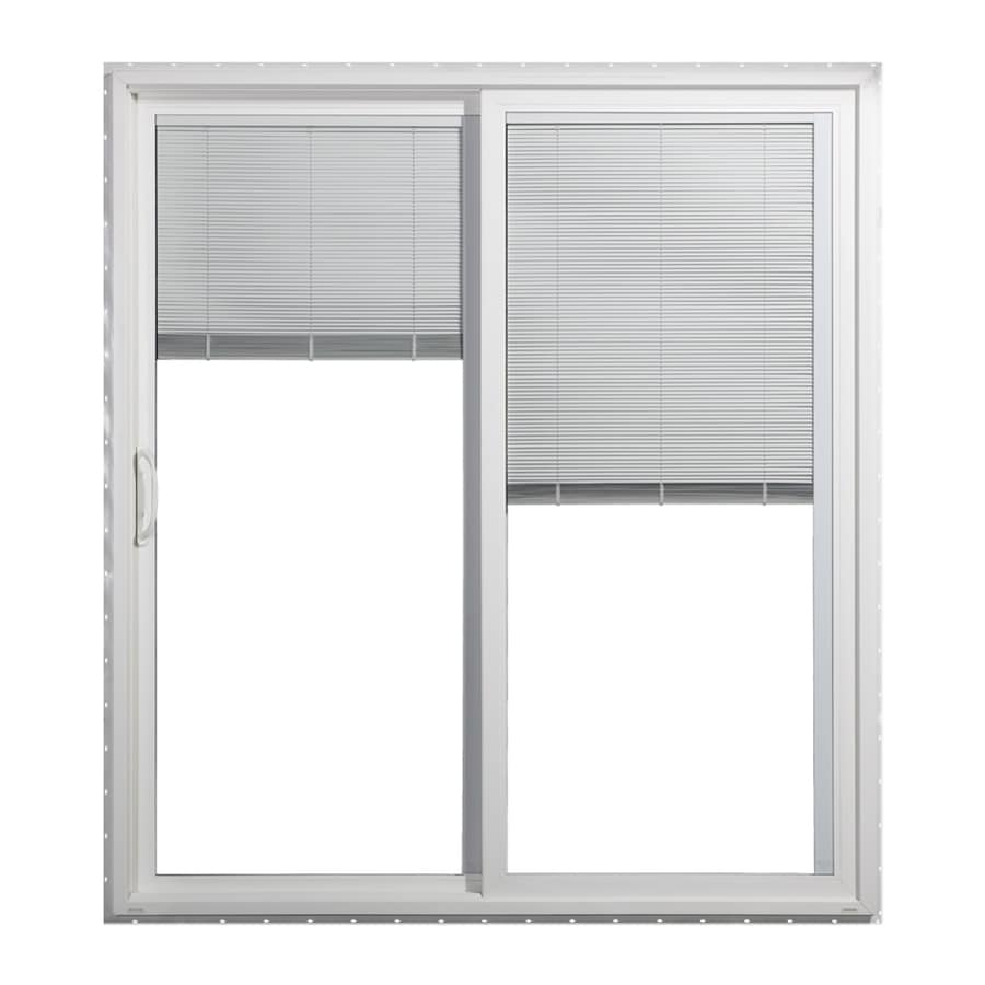 JELD-WEN 59.5000-in x 79.5000-in Blinds Between the Glass Left-Hand White Vinyl Sliding Patio Door with Screen