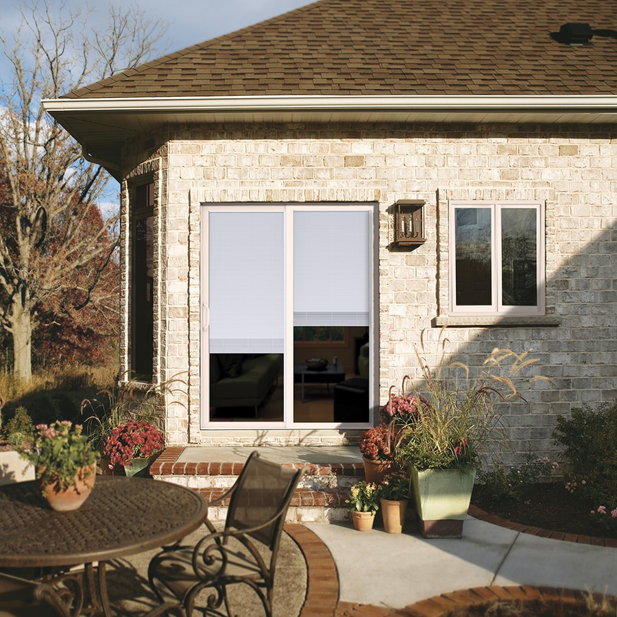 JELD-WEN 71.5000-in x 79.5000-in Blinds Between the Glass Left-Hand White Vinyl Sliding Patio Door with Screen