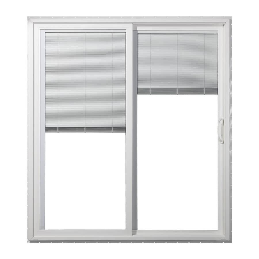 JELD-WEN 71.5000-in x 79.5000-in Blinds Between the Glass Right-Hand White Vinyl Sliding Patio Door with Screen