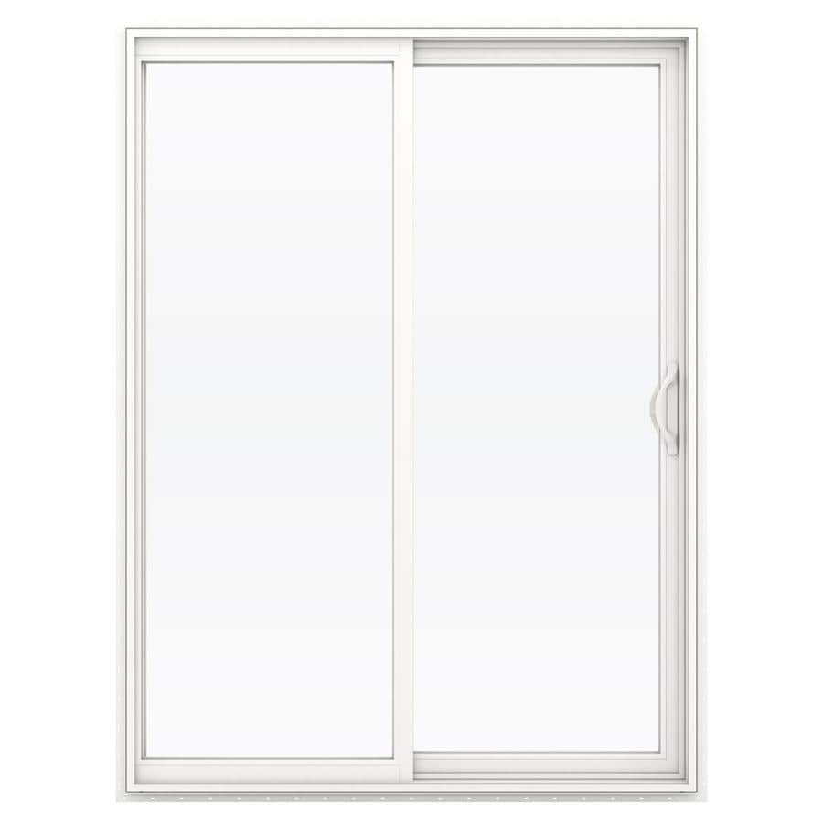 JELD-WEN 59.5-in x 79.5-in Right-Hand White Vinyl Sliding Patio Door with Screen