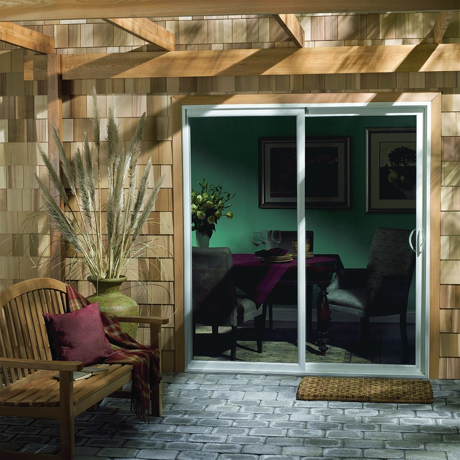 JELD-WEN 71.5-in 1-Lite Glass White Vinyl Sliding Patio Door with Screen
