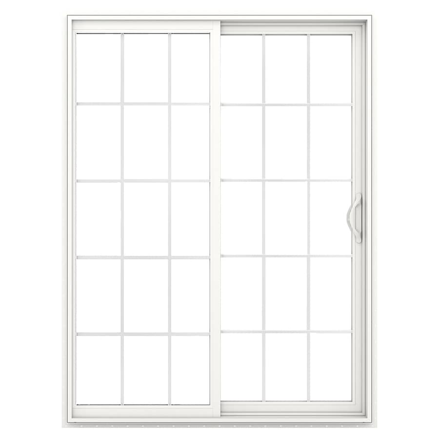 JELD-WEN 71.5-in 15-Lite Glass White Vinyl Sliding Patio Door with Screen