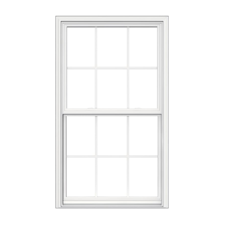 Shop jeld wen v 2500 vinyl double pane double strength for Double hung replacement windows reviews
