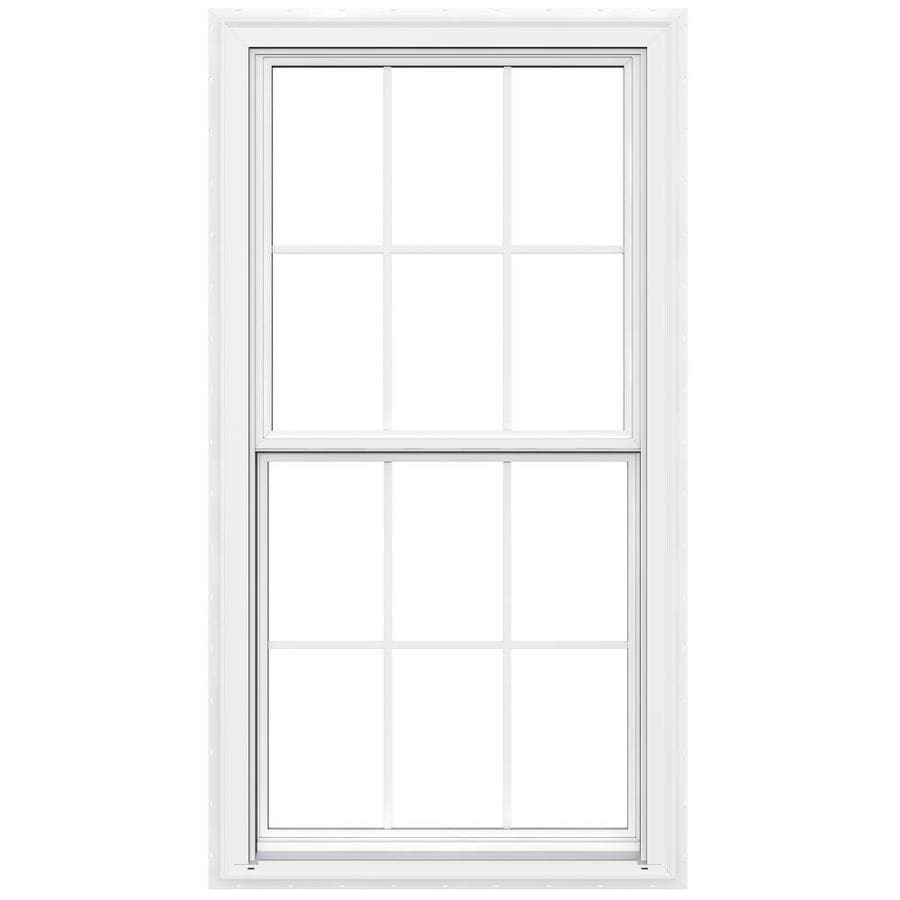 JELD-WEN V-2500 Vinyl Double Pane Double Strength New Construction Egress Double Hung Window (Rough Opening: 34-in x 65-in; Actual: 33.5-in x 64.5-in)