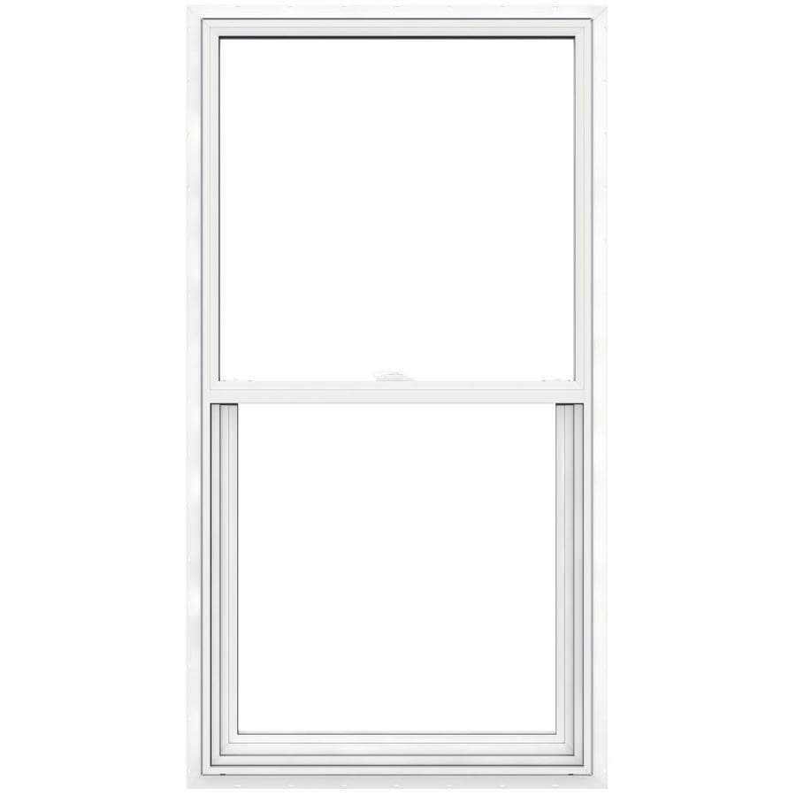 JELD-WEN V2500 Vinyl Double Pane Double Strength Single Hung Window (Rough Opening: 30-in x 57-in; Actual: 29.5-in x 56.5-in)