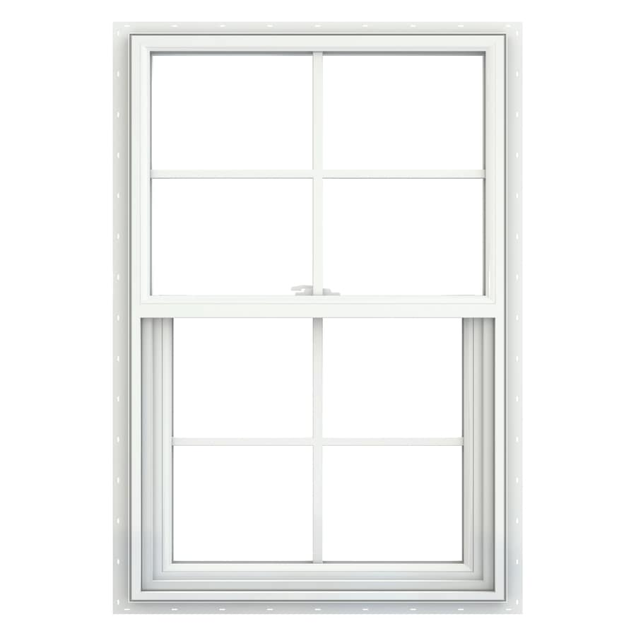 JELD-WEN V2500 Vinyl Double Pane Double Strength Single Hung Window (Rough Opening: 22-in x 33-in; Actual: 21.5-in x 32.5-in)