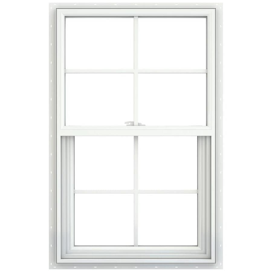 JELD-WEN V-2500 Vinyl Double Pane Double Strength New Construction Single Hung Window (Rough Opening: 26-in x 41-in; Actual: 25.5-in x 40.5-in)