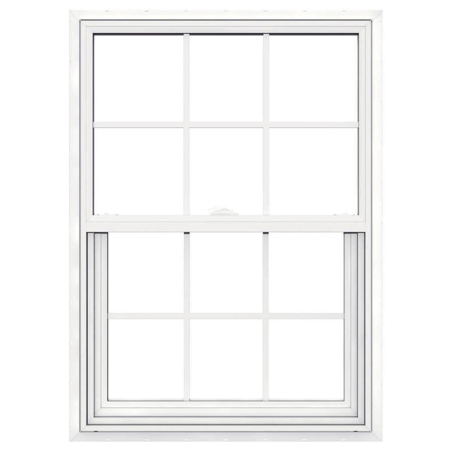 JELD-WEN V-2500 Vinyl Double Pane Double Strength New Construction Single Hung Window (Rough Opening: 30-in x 41-in; Actual: 29.5-in x 40.5-in)