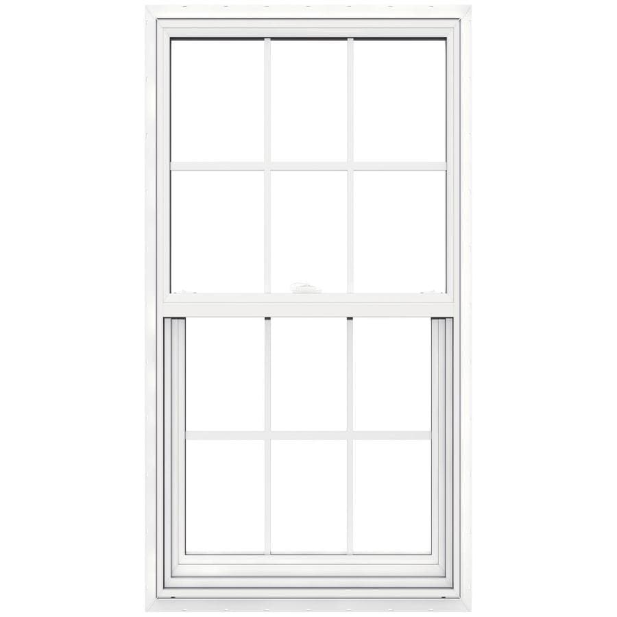 JELD-WEN V-2500 Vinyl Double Pane Double Strength New Construction Single Hung Window (Rough Opening: 30-in x 57-in; Actual: 29.5-in x 56.5-in)