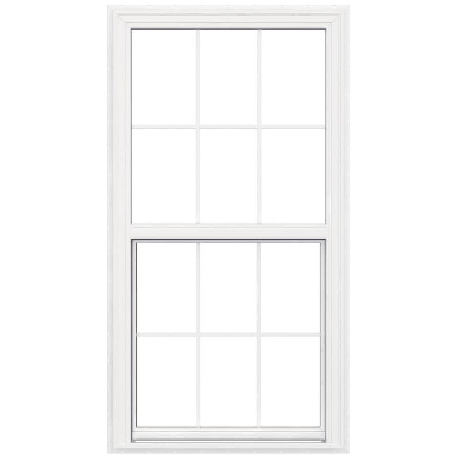 JELD-WEN V-2500 Vinyl Double Pane Double Strength New Construction Egress Single Hung Window (Rough Opening: 34-in x 65-in; Actual: 33.5-in x 64.5-in)