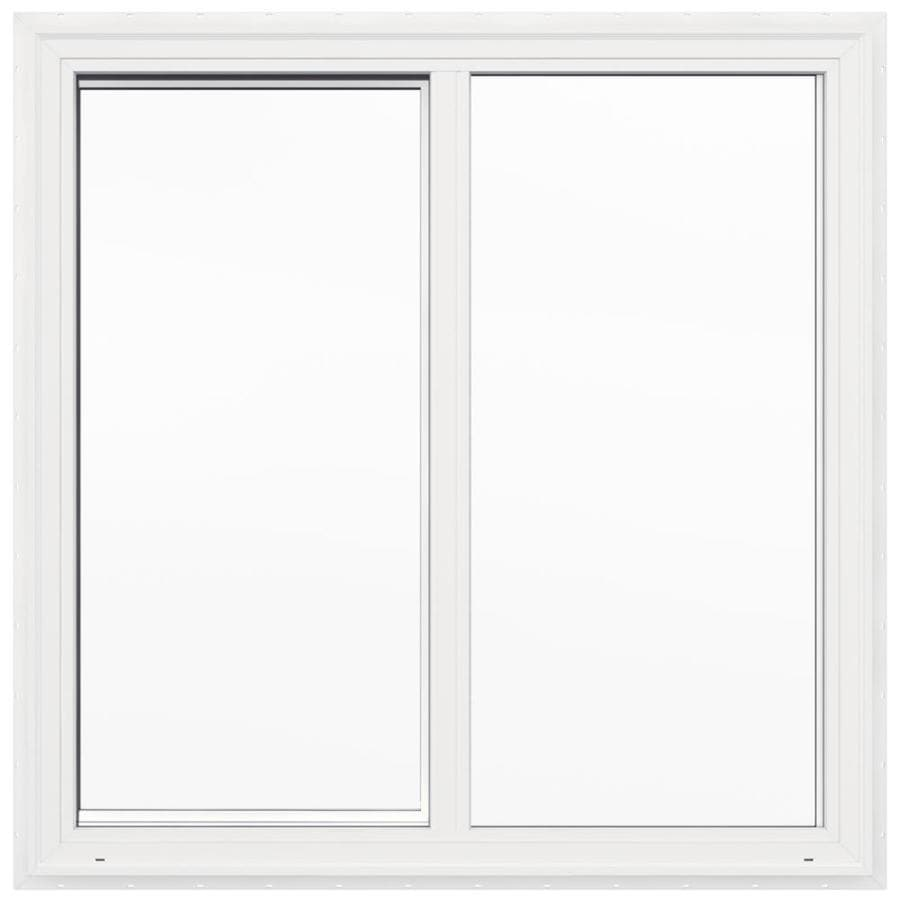 JELD-WEN V2500 Left-Operable Vinyl Double Pane Double Strength Sliding Window (Rough Opening: 48-in x 48-in; Actual: 47.5-in x 47.5-in)