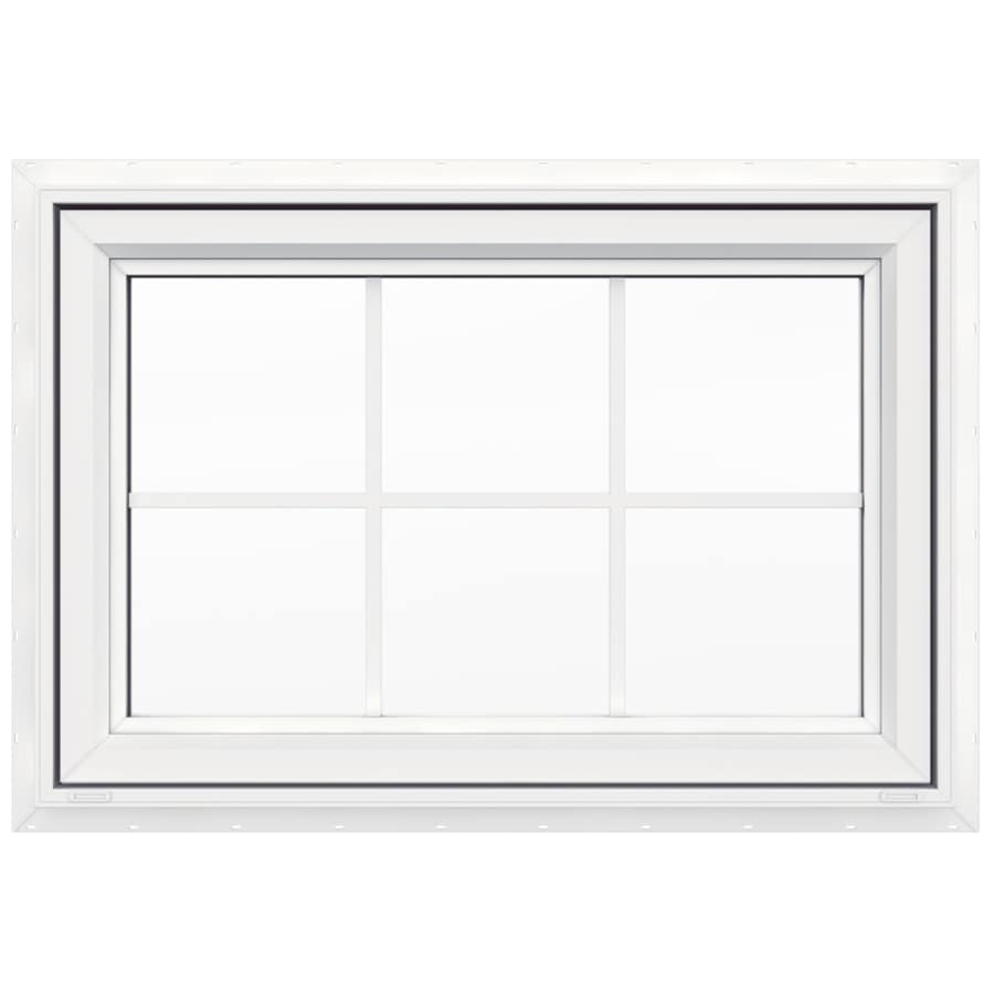 JELD-WEN V-4500 Single Vinyl Double Pane Double Strength New Construction Awning Window (Rough Opening: 36-in x 24-in; Actual: 35.5-in x 23.5-in)