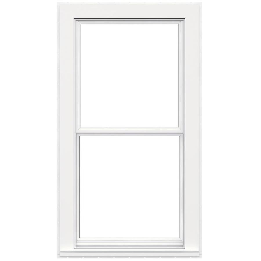 JELD-WEN Flat Casing Vinyl Double Pane Double Strength Replacement Double Hung Window (Rough Opening: 32-in x 62-in; Actual: 31.5-in x 61.5-in)