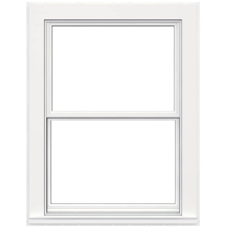 JELD-WEN Flat Casing Vinyl Double Pane Double Strength Replacement Double Hung Window (Rough Opening: 36-in x 48-in; Actual: 35.5-in x 47.5-in)