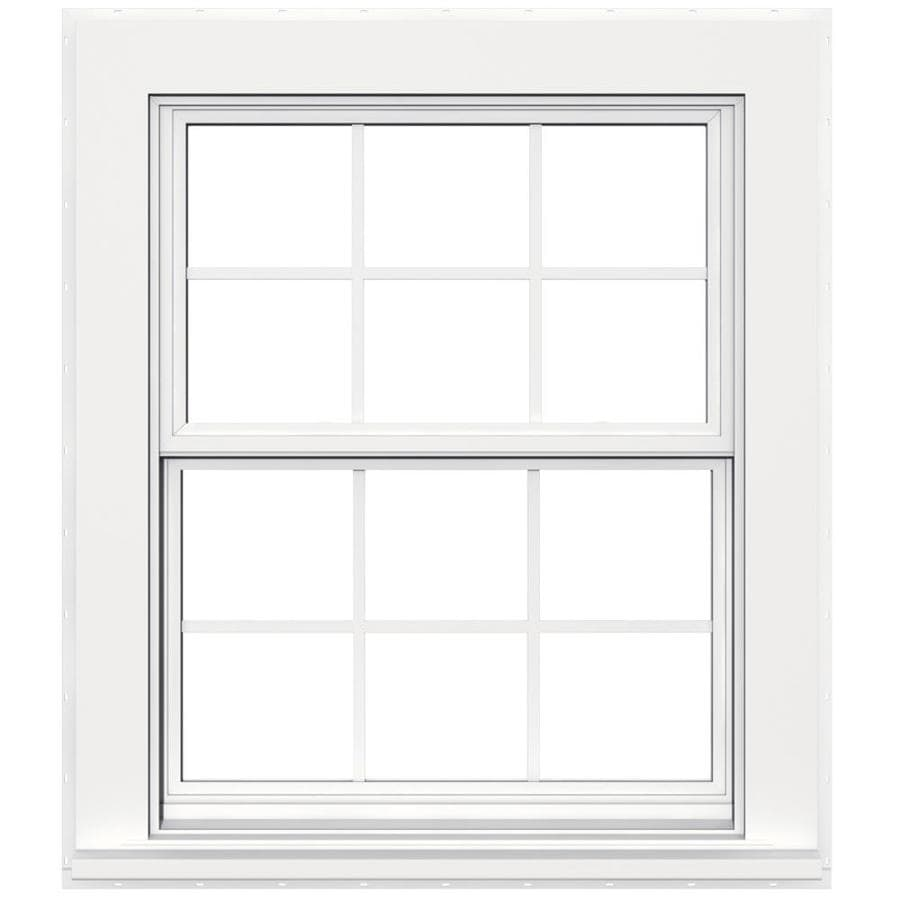 JELD-WEN Flat Casing Vinyl Double Pane Double Strength Replacement Double Hung Window (Rough Opening: 32-in x 38-in; Actual: 31.5-in x 37.5-in)