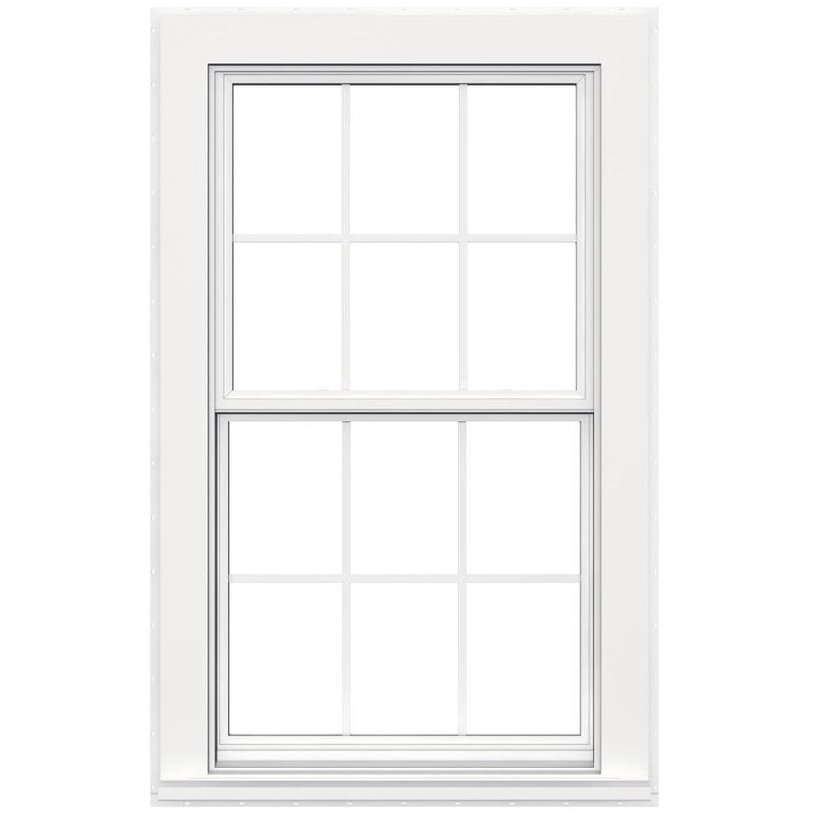 JELD-WEN Flat Casing Vinyl Double Pane Double Strength Replacement Double Hung Window (Rough Opening: 32-in x 54-in; Actual: 31.5-in x 53.5-in)