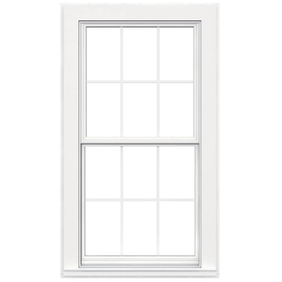 JELD-WEN Flat Casing Vinyl Double Pane Double Strength Replacement Double Hung Window (Rough Opening: 32-in x 60-in; Actual: 31.5-in x 59.5-in)