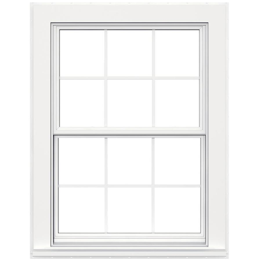 Shop jeld wen flat casing vinyl double pane double for Double hung replacement windows reviews
