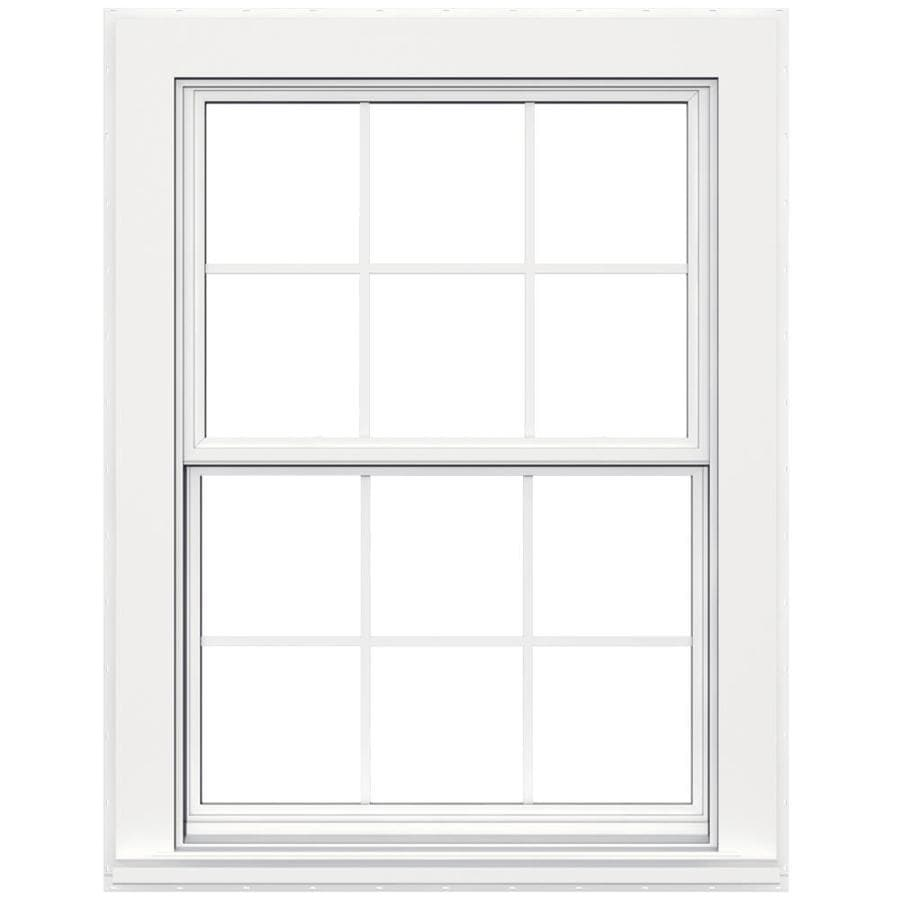 JELD-WEN V4500 Vinyl Double Pane Double Strength Double Hung Window (Rough Opening: 36-in x 48-in; Actual: 35.5-in x 47.5-in)