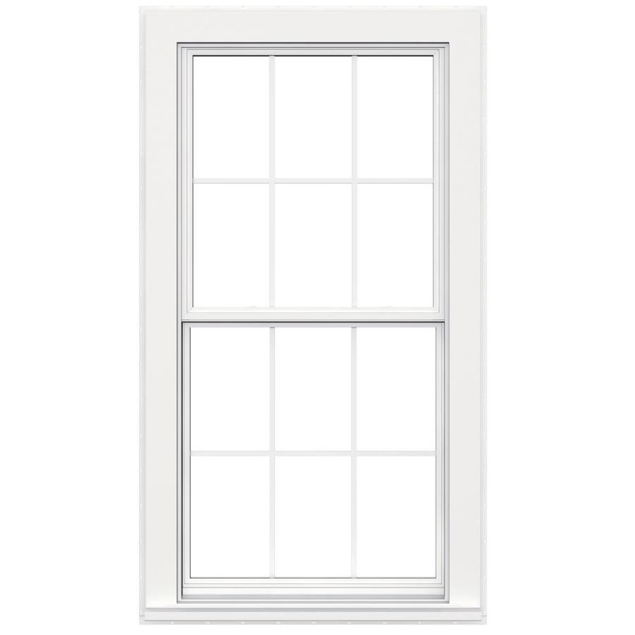 JELD-WEN Flat Casing Vinyl Double Pane Double Strength Replacement Egress Double Hung Window (Rough Opening: 34-in x 65-in; Actual: 33.5-in x 64.5-in)