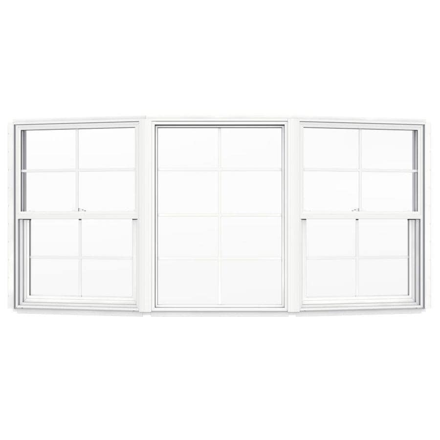 shop projection windows at lowes com jeld wen v2500 single hung vinyl double pane double strength new construction bow window