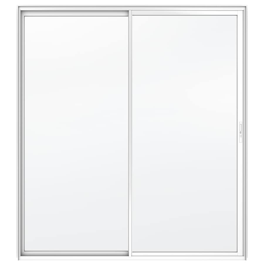 JELD-WEN Builders 59.5-in x 79.5-in Clear Glass Right-Hand White Aluminum Sliding Patio Door