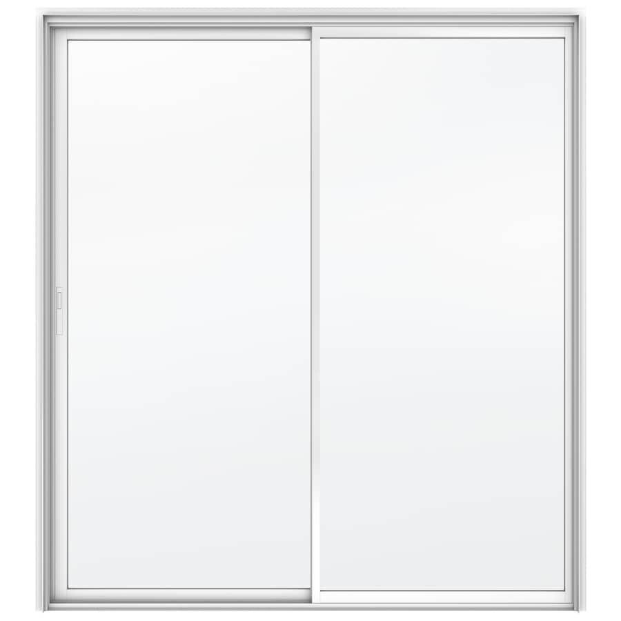 JELD-WEN Builders 71.5-in x 79.5-in Clear Glass Left-Hand White Aluminum Sliding Patio Door