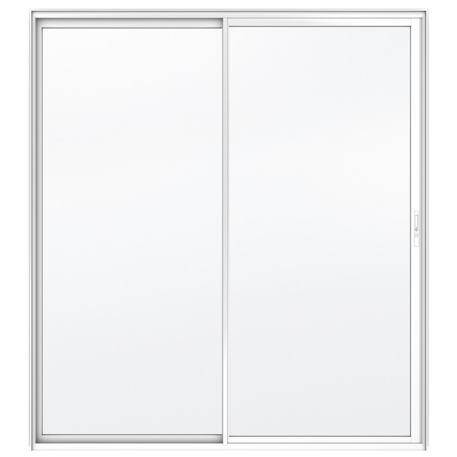 JELD-WEN Builders 71.5-in x 79.5-in Clear Glass Right-Hand White Aluminum Sliding Patio Door