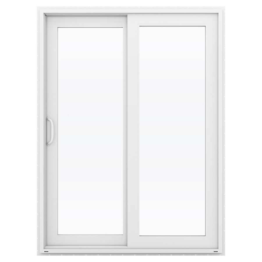 Shop jeld wen v 4500 59 5 in 1 lite glass white vinyl for White sliding patio doors