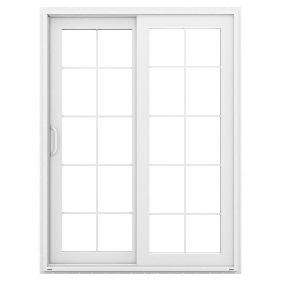 Shop jeld wen v 4500 59 5 in 10 lite glass white vinyl for White sliding patio doors