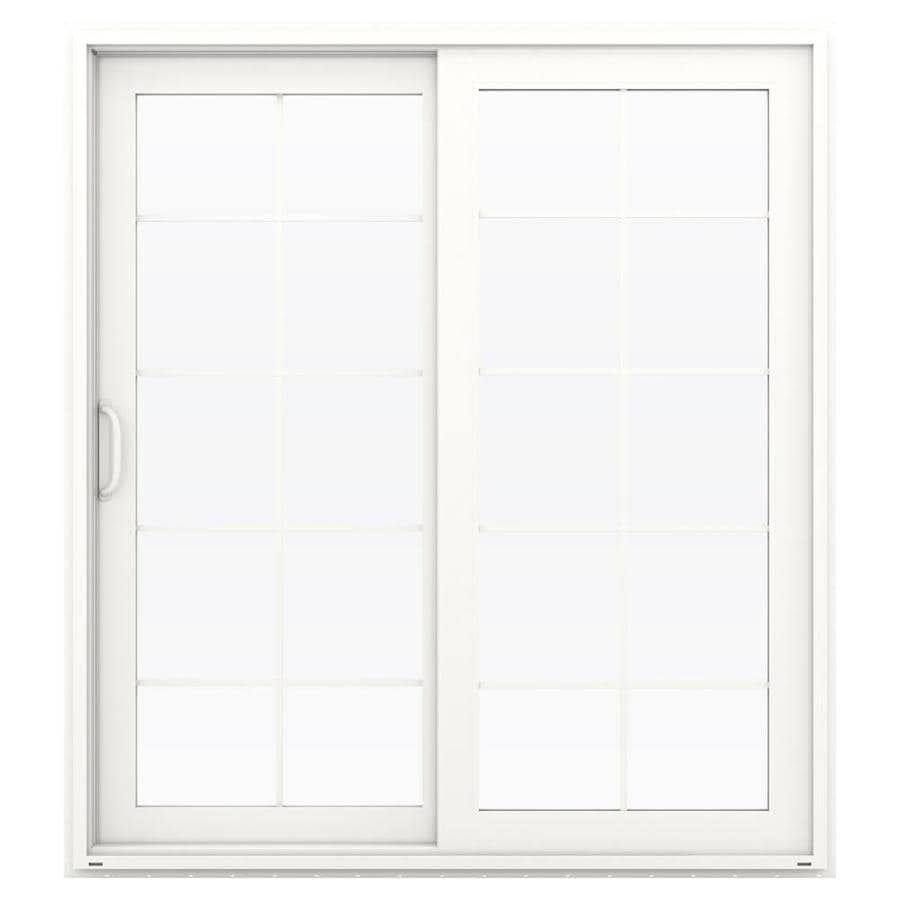 Shop jeld wen v 4500 71 5 in x 79 5 in left hand white for Sliding glass doors jeld wen
