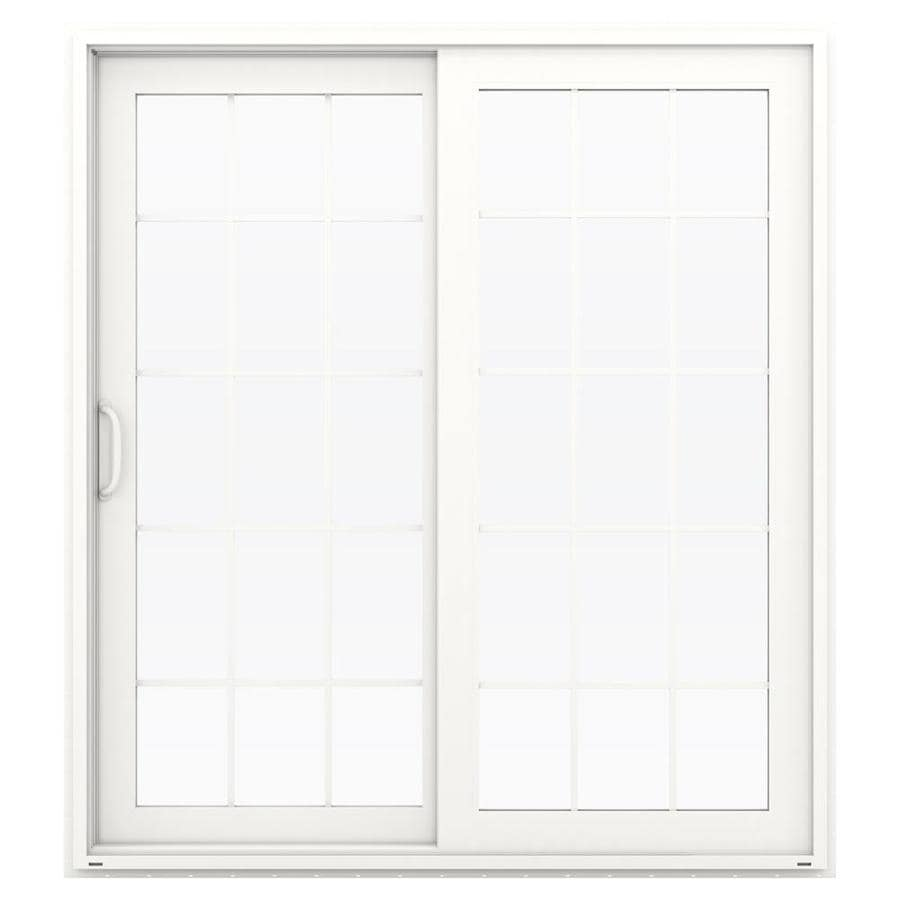 Shop jeld wen v 4500 71 5 in 15 lite glass white vinyl for Sliding glass doors jeld wen
