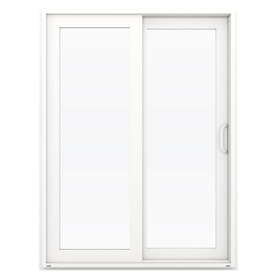 JELD-WEN V-4500 59.5-in 1-Lite Glass White Vinyl Sliding Patio Door with Screen