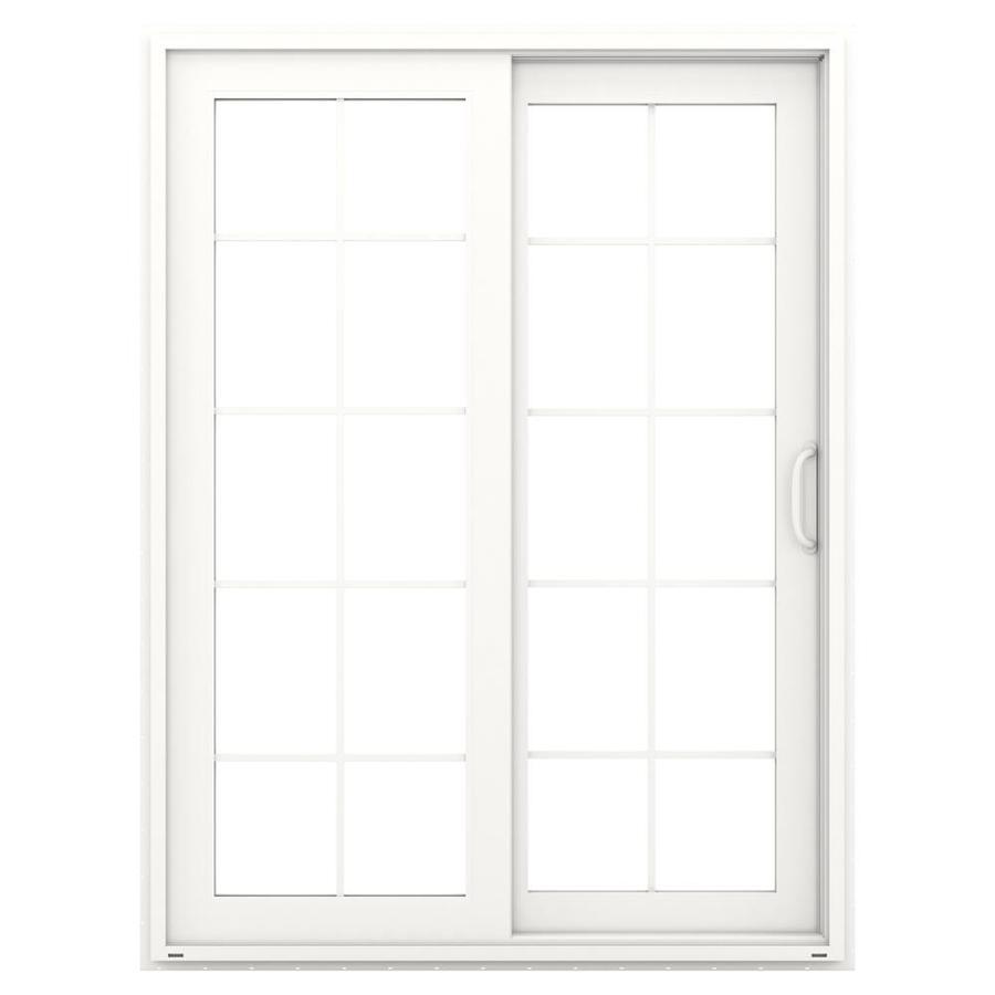 JELD-WEN V-4500 59.5-in 10-Lite Glass White Vinyl Sliding Patio Door with Screen