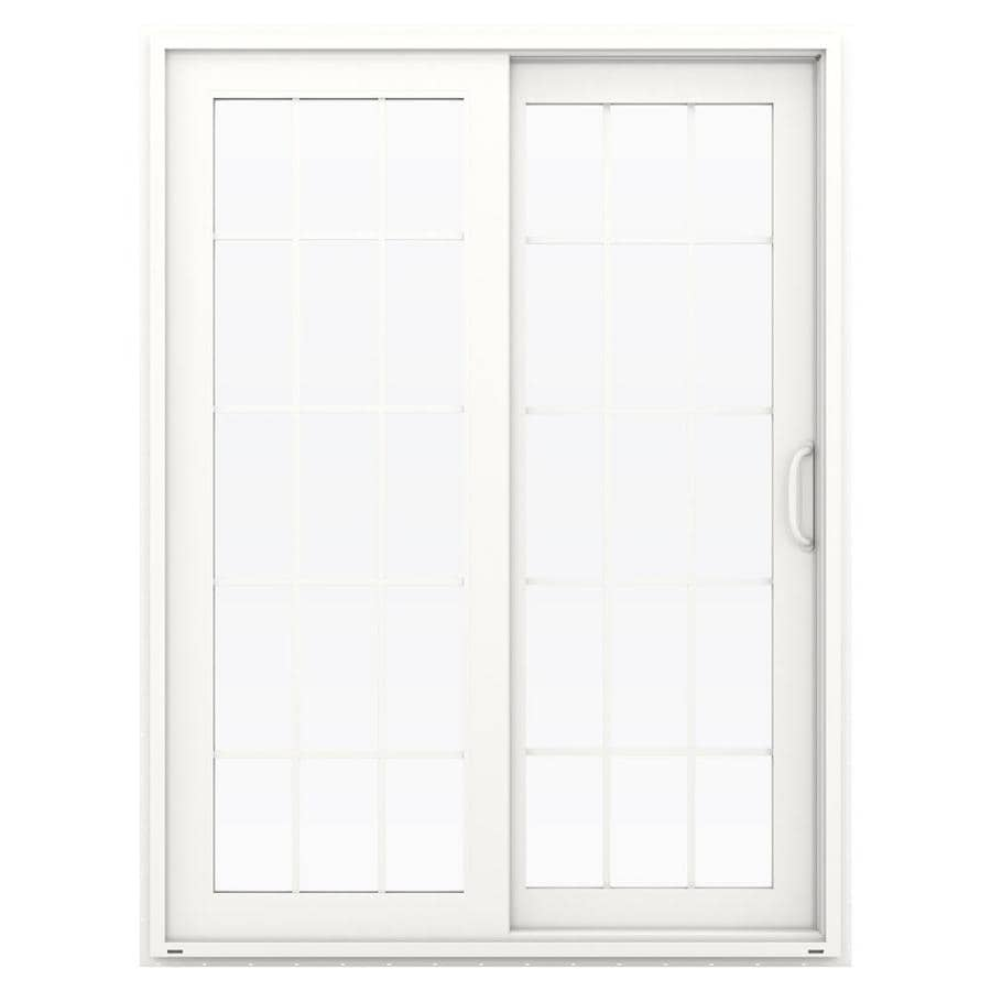 JELD-WEN V-4500 59.5-in 15-Lite Glass White Vinyl Sliding Patio Door with Screen