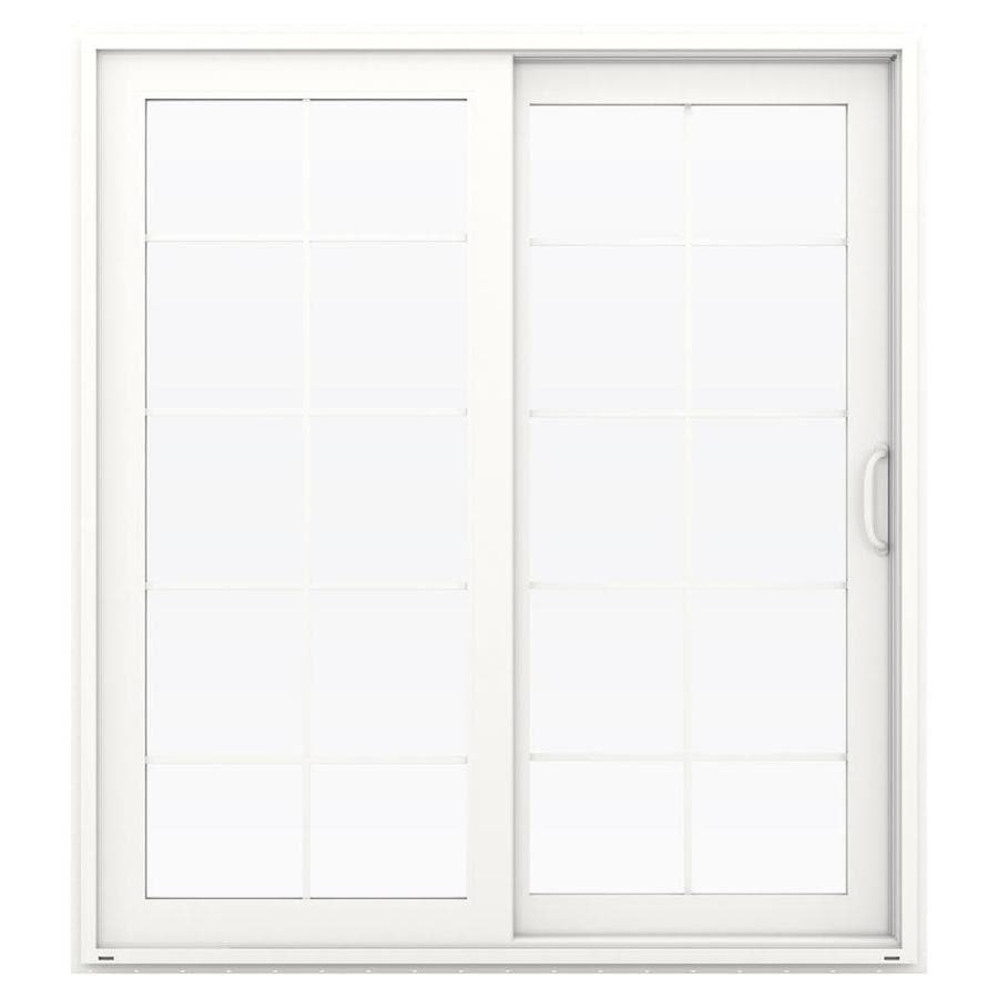JELD-WEN V-4500 71.5-in 10-Lite Glass White Vinyl Sliding Patio Door with Screen