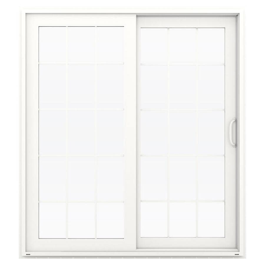 JELD-WEN V-4500 71.5-in 15-Lite Glass White Vinyl Sliding Patio Door with Screen